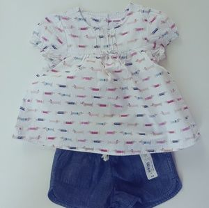 Girls blouse with matching shorts